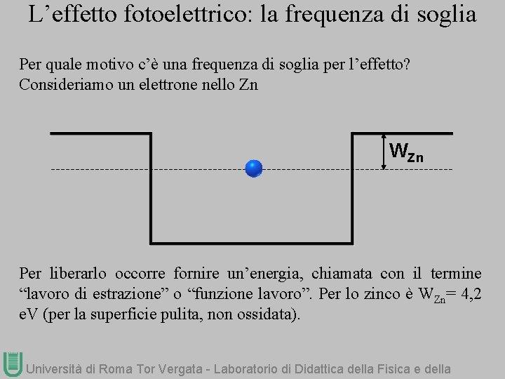 L'effetto fotoelettrico: la frequenza di soglia Per quale motivo c'è una frequenza di soglia