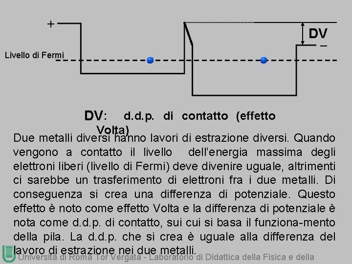 + DV_ Livello di Fermi DV : d. d. p. di contatto (effetto Volta)