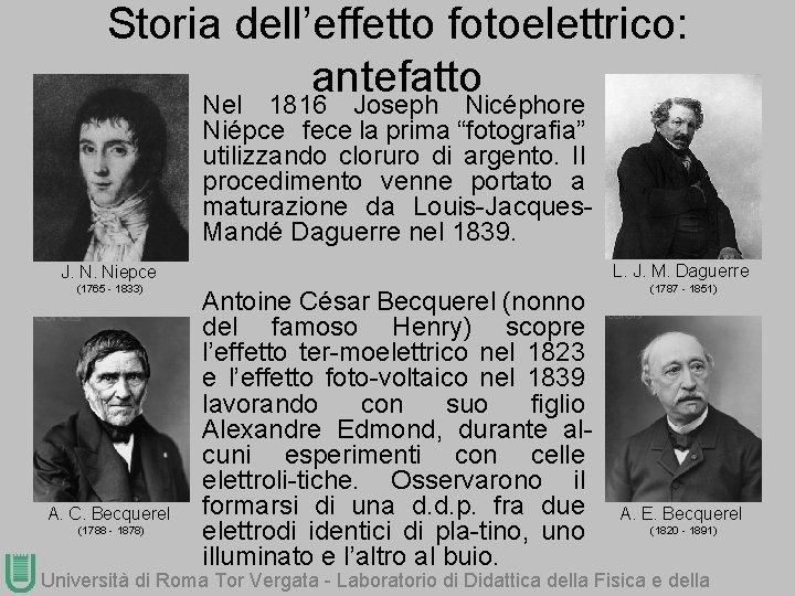 """Storia dell'effetto fotoelettrico: antefatto Nel 1816 Joseph Nicéphore Niépce fece la prima """"fotografia"""" utilizzando"""