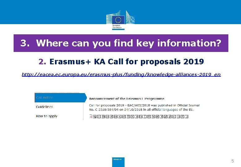 3. Where can you find key information? 2. Erasmus+ KA Call for proposals 2019