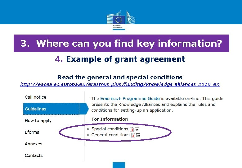 3. Where can you find key information? 4. Example of grant agreement Read the