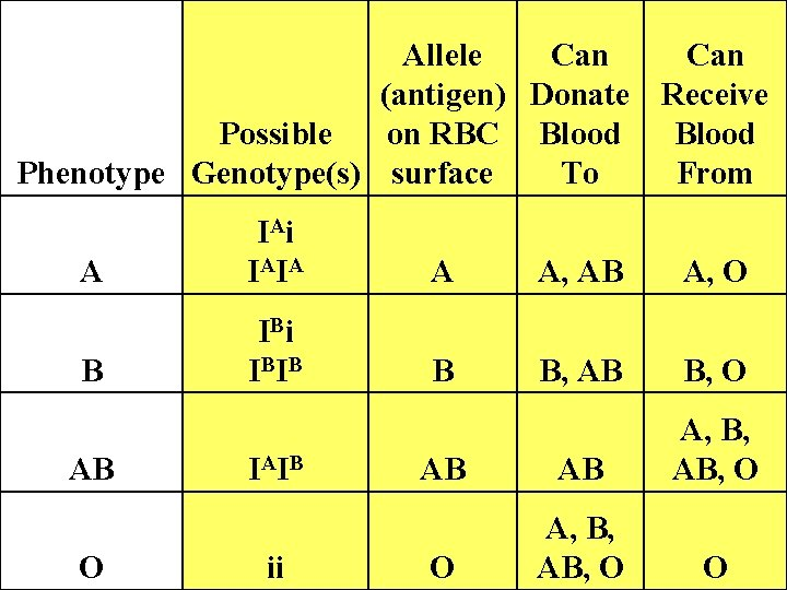 Allele Can (antigen) Donate Receive Possible on RBC Blood Phenotype Genotype(s) surface To From