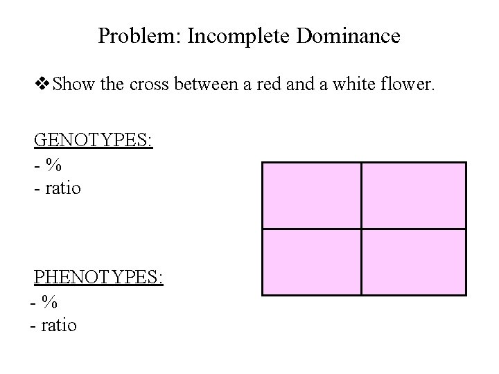 Problem: Incomplete Dominance v. Show the cross between a red and a white flower.