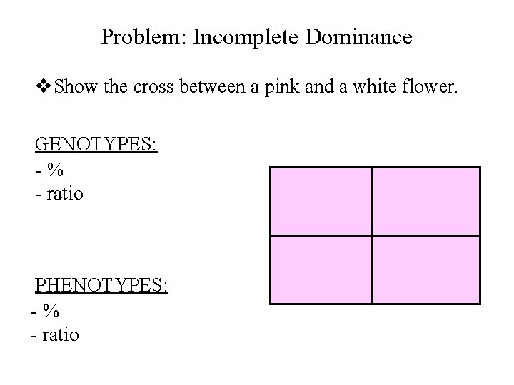 Problem: Incomplete Dominance v. Show the cross between a pink and a white flower.