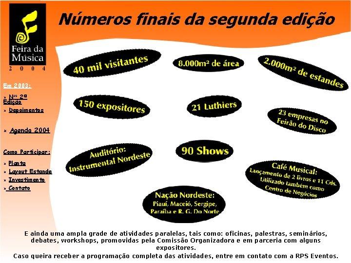 Números finais da segunda edição Em 2003: Nos 2ª Edição û Depoimentos û û