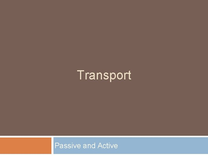 Transport Passive and Active