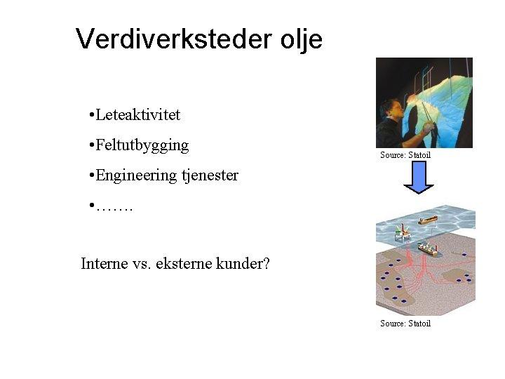 Verdiverksteder olje • Leteaktivitet • Feltutbygging Source: Statoil • Engineering tjenester • ……. Interne