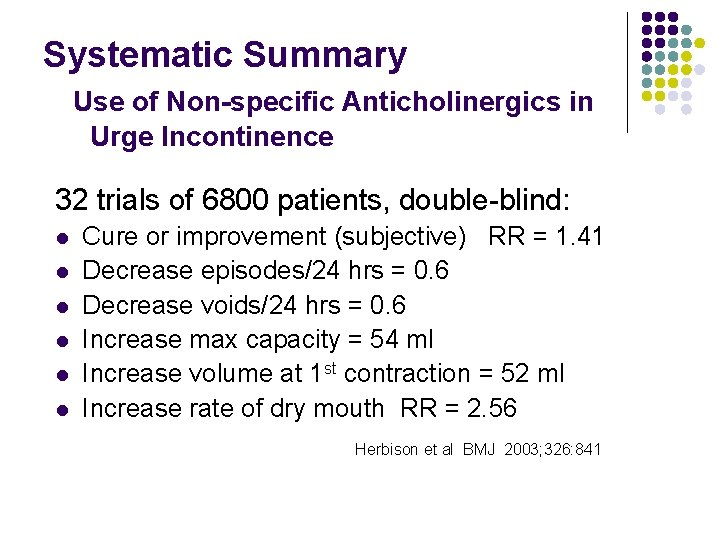 Systematic Summary Use of Non-specific Anticholinergics in Urge Incontinence 32 trials of 6800 patients,