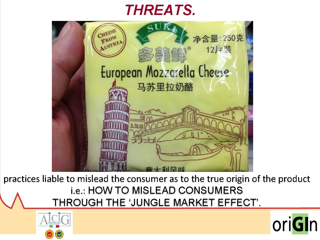THREATS. practices liable to mislead the consumer as to the true origin of the