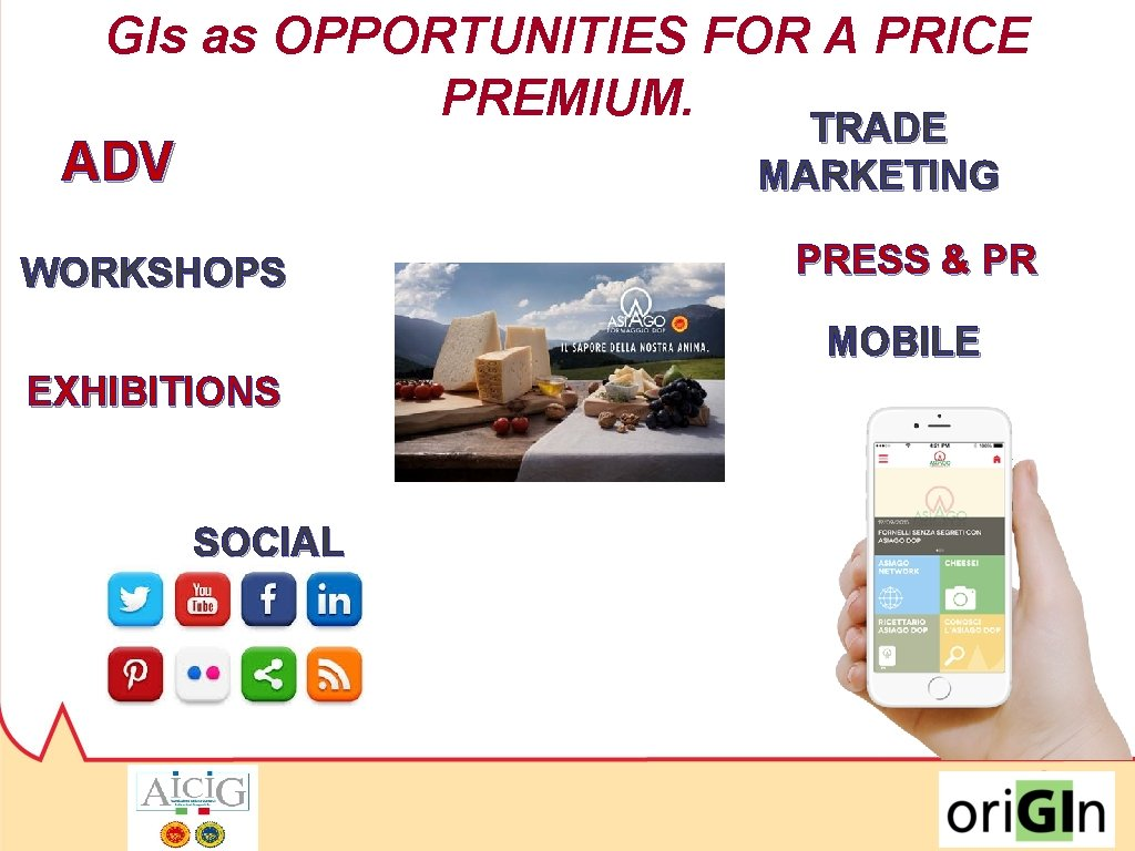 GIs as OPPORTUNITIES FOR A PRICE PREMIUM. TRADE ADV MARKETING WORKSHOPS PRESS & PR