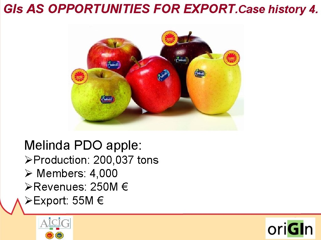 GIs AS OPPORTUNITIES FOR EXPORT. Case history 4. 2009/2016: Melinda PDO apple: +63% ØProduction:
