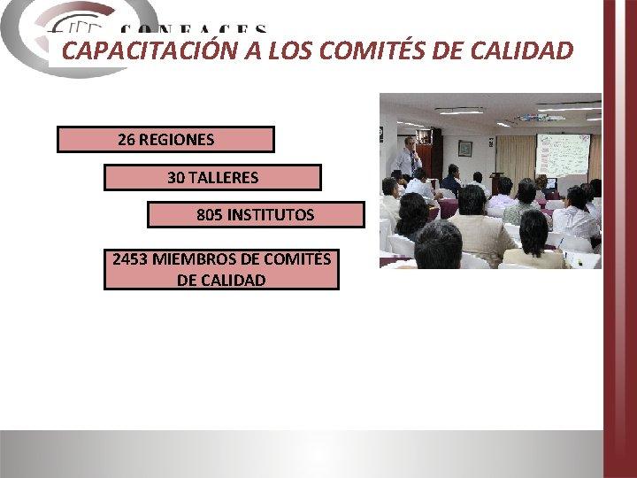 CAPACITACIÓN A LOS COMITÉS DE CALIDAD 26 REGIONES 30 TALLERES 805 INSTITUTOS 2453 MIEMBROS