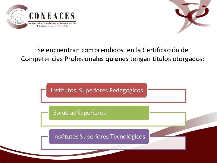 Se encuentran comprendidos en la Certificación de Competencias Profesionales quienes tengan títulos otorgados: Institutos