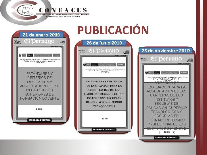 21 de enero 2009 PUBLICACIÓN 26 de junio 2010 28 de noviembre 2010 ESTÁNDARES