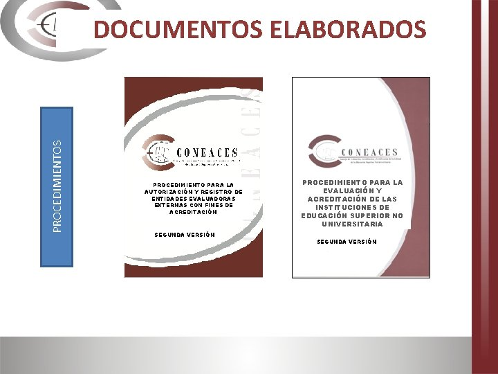 PROCEDIMIENTOS DOCUMENTOS ELABORADOS PROCEDIMIENTO PARA LA AUTORIZACIÓN Y REGISTRO DE ENTIDADES EVALUADORAS EXTERNAS CON