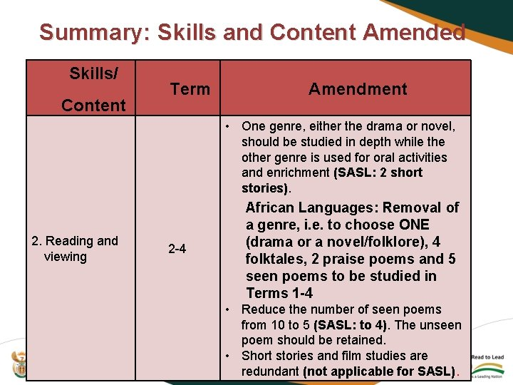 Summary: Skills and Content Amended Skills/ Content Term Amendment • One genre, either the