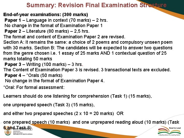 Summary: Revision Final Examination Structure End-of-year examinations: (300 marks) Paper 1 – Language in