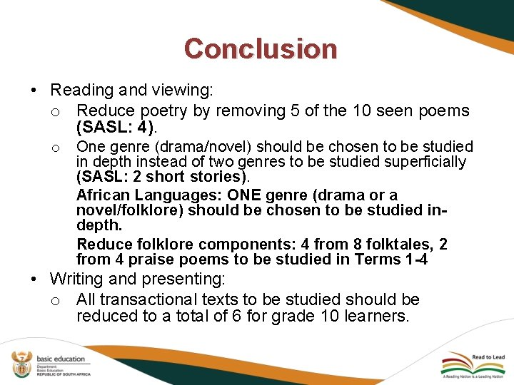Conclusion • Reading and viewing: o Reduce poetry by removing 5 of the