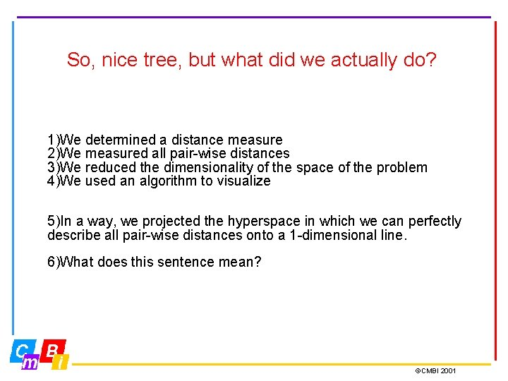So, nice tree, but what did we actually do? 1)We determined a distance measure