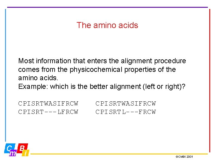 The amino acids Most information that enters the alignment procedure comes from the physicochemical