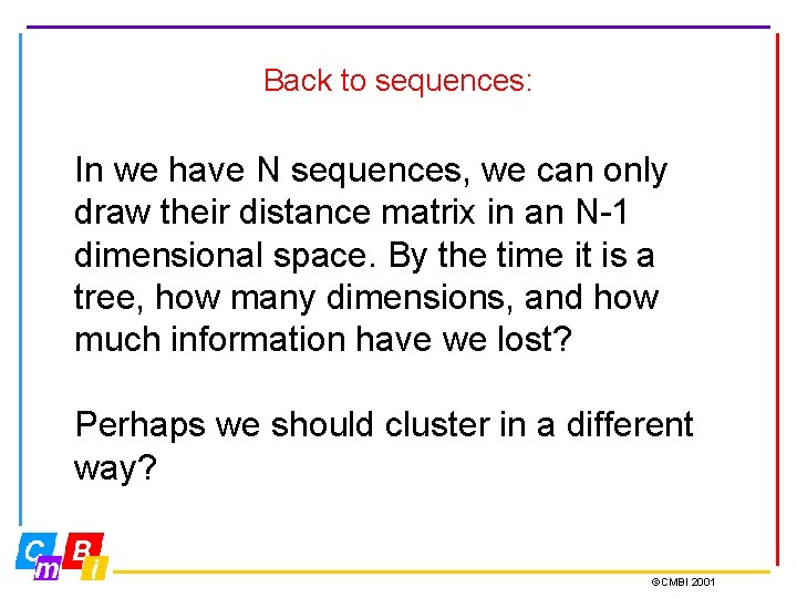 Back to sequences: In we have N sequences, we can only draw their distance