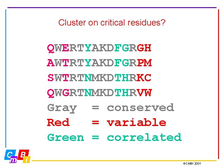 Cluster on critical residues? QWERTYAKDFGRGH AWTRTYAKDFGRPM SWTRTNMKDTHRKC QWGRTNMKDTHRVW Gray = conserved Red = variable