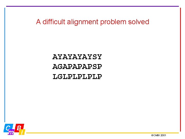 A difficult alignment problem solved AYAYSY AGAPAPAPSP LGLPLP ©CMBI 2001