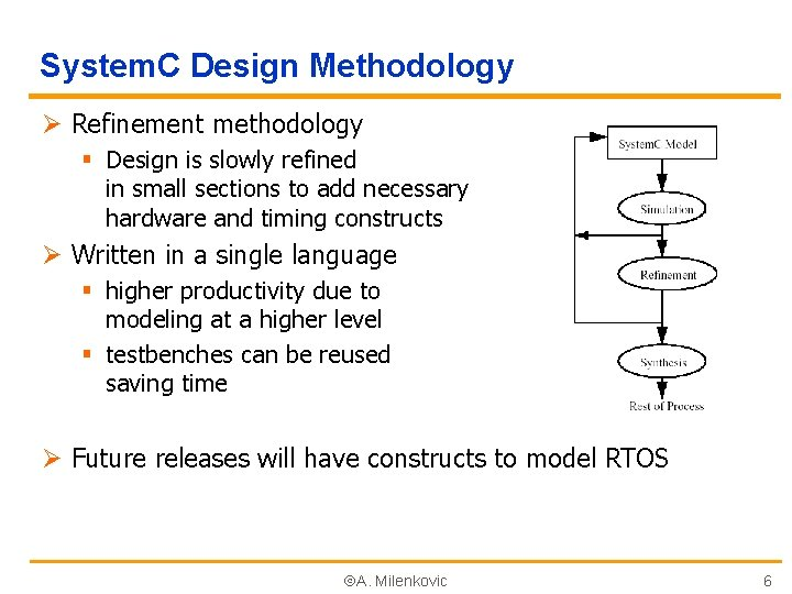 System. C Design Methodology Ø Refinement methodology § Design is slowly refined in small