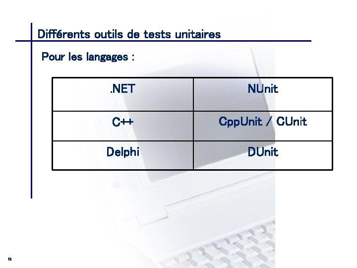 Différents outils de tests unitaires CONSEIL & INGENIERIE Pour les langages : 13 .