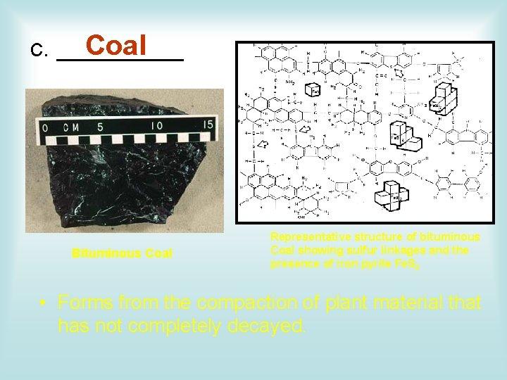 Coal c. _____ Bituminous Coal Representative structure of bituminous Coal showing sulfur linkages and