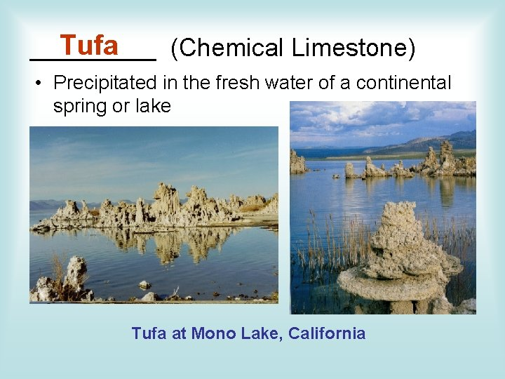 Tufa _____ (Chemical Limestone) • Precipitated in the fresh water of a continental spring