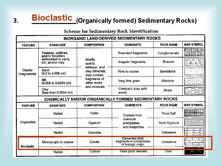 Bioclastic _______(Organically formed) Sedimentary Rocks) 3. a) Limestones (Biochemical) i. These are carbonate rocks