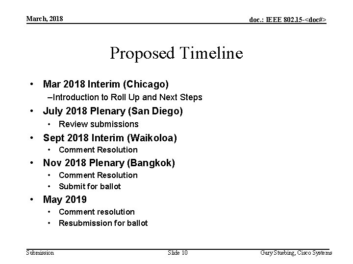 March, 2018 doc. : IEEE 802. 15 -<doc#> Proposed Timeline • Mar 2018 Interim