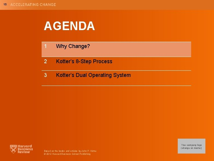 16 AGENDA 1 Why Change? 2 Kotter's 8 -Step Process 3 Kotter's Dual Operating