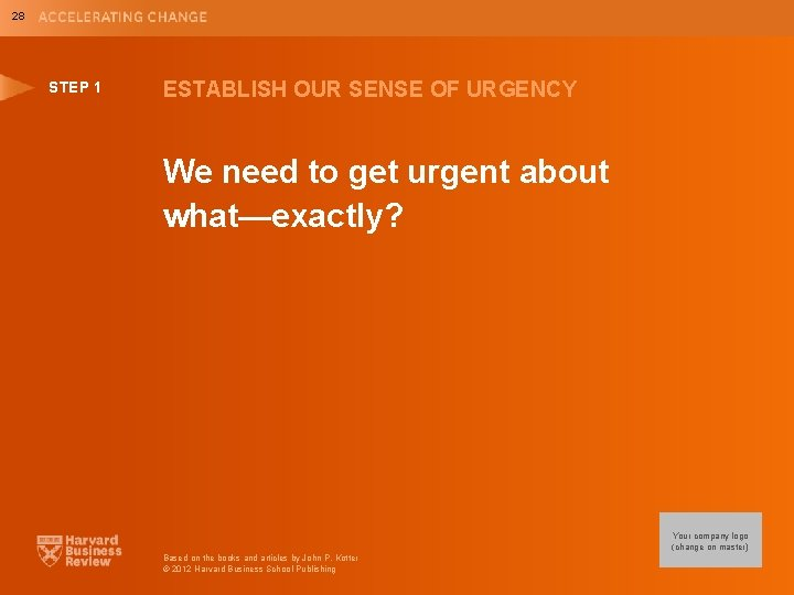 28 STEP 1 ESTABLISH OUR SENSE OF URGENCY We need to get urgent about