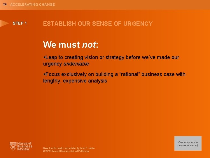 29 STEP 1 ESTABLISH OUR SENSE OF URGENCY We must not: §Leap to creating