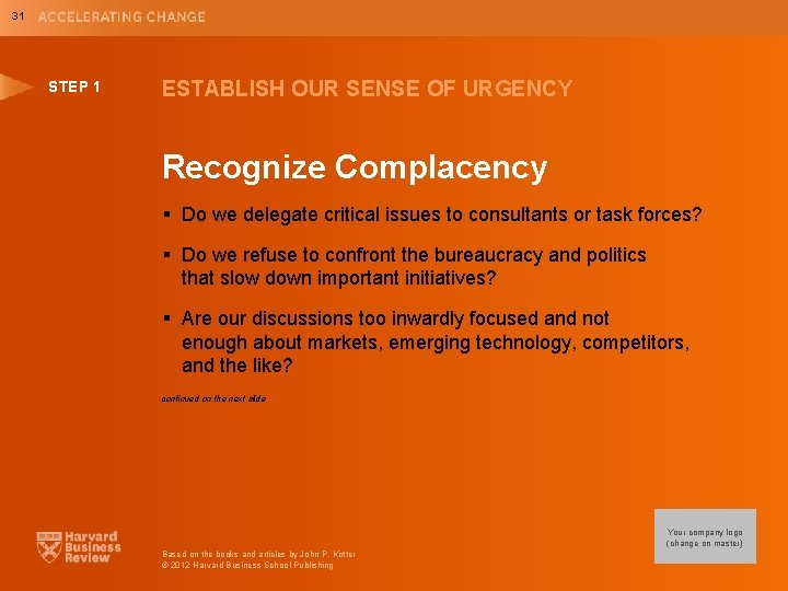 31 STEP 1 ESTABLISH OUR SENSE OF URGENCY Recognize Complacency § Do we delegate
