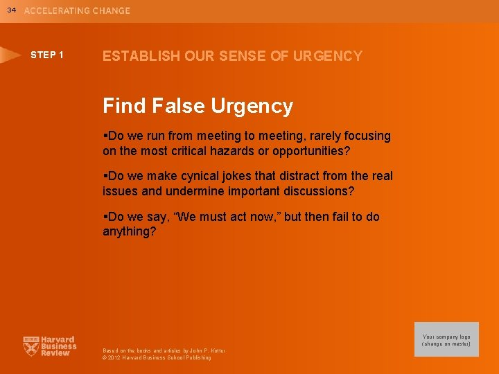 34 STEP 1 ESTABLISH OUR SENSE OF URGENCY Find False Urgency §Do we run