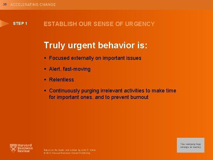 35 STEP 1 ESTABLISH OUR SENSE OF URGENCY Truly urgent behavior is: § Focused