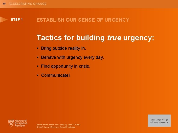 36 STEP 1 ESTABLISH OUR SENSE OF URGENCY Tactics for building true urgency: §
