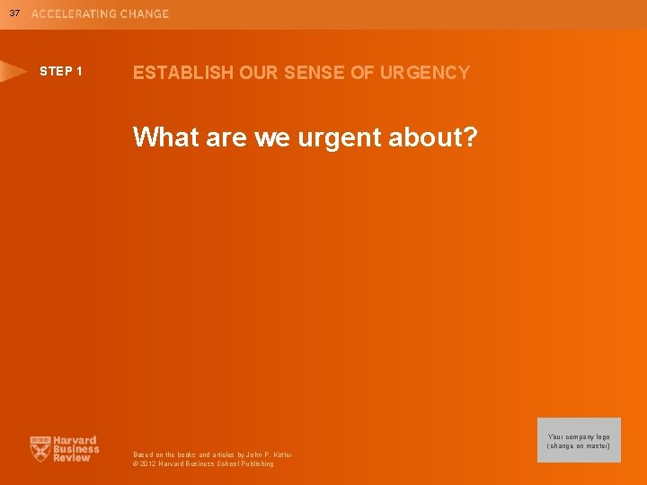 37 STEP 1 ESTABLISH OUR SENSE OF URGENCY What are we urgent about? Your