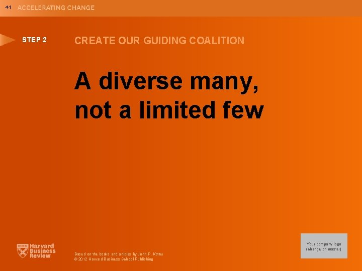 41 STEP 2 CREATE OUR GUIDING COALITION A diverse many, not a limited few