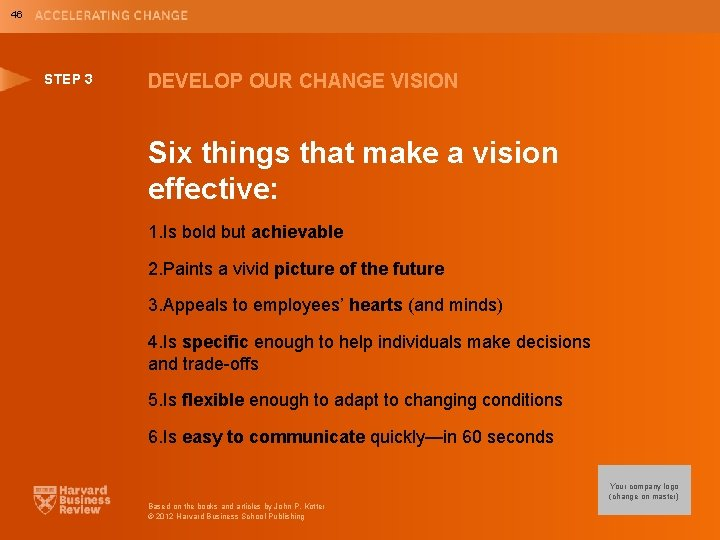 46 STEP 3 DEVELOP OUR CHANGE VISION Six things that make a vision effective: