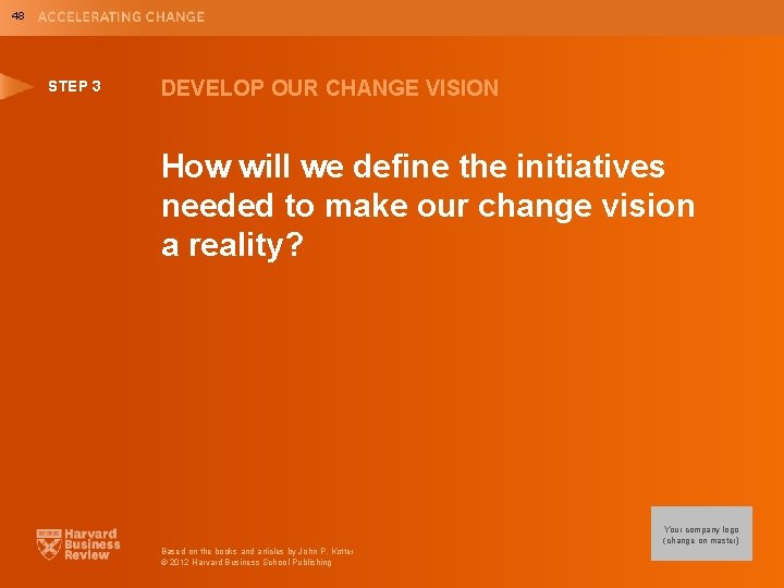 48 STEP 3 DEVELOP OUR CHANGE VISION How will we define the initiatives needed