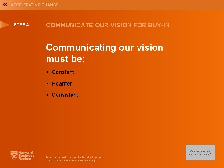 50 STEP 4 COMMUNICATE OUR VISION FOR BUY-IN Communicating our vision must be: §
