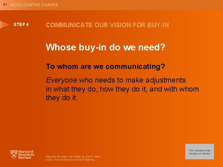 51 STEP 4 COMMUNICATE OUR VISION FOR BUY-IN Whose buy-in do we need? To