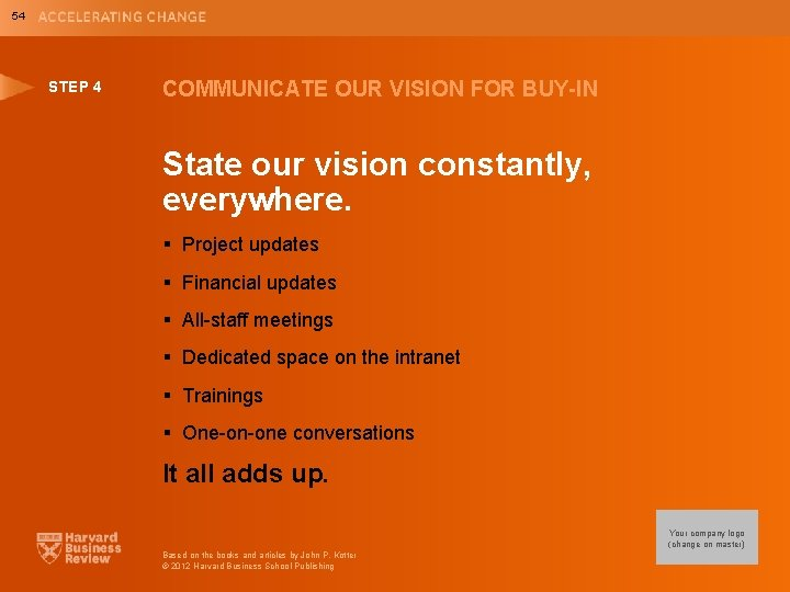 54 STEP 4 COMMUNICATE OUR VISION FOR BUY-IN State our vision constantly, everywhere. §