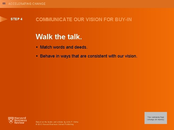 55 STEP 4 COMMUNICATE OUR VISION FOR BUY-IN Walk the talk. § Match words