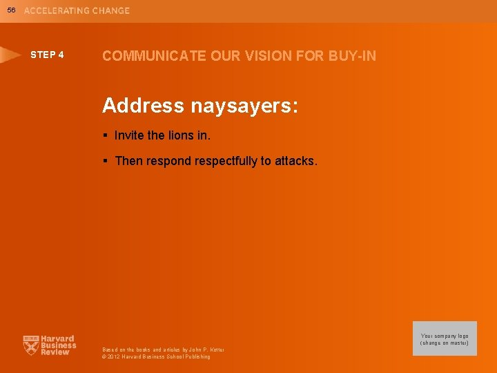56 STEP 4 COMMUNICATE OUR VISION FOR BUY-IN Address naysayers: § Invite the lions