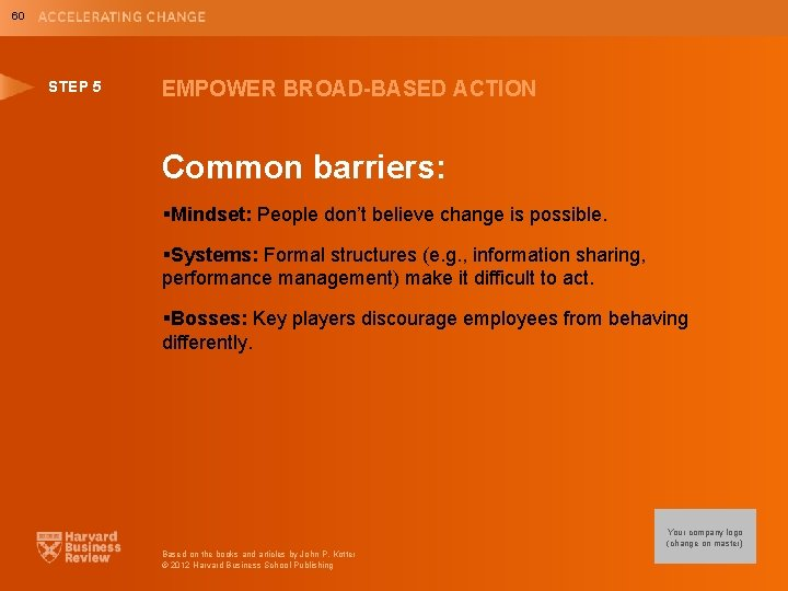 60 STEP 5 EMPOWER BROAD-BASED ACTION Common barriers: §Mindset: People don't believe change is